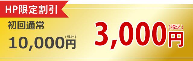 ㏋限定割引 初回通常1000円(税込)が3000円(税込)